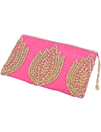 Aatm Women's Jaipuri Style Zip Wallet/Purse In Pink Color