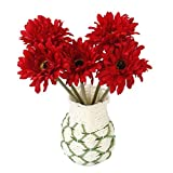 UEETEK 5 x Hochzeit Künstliche Blumen Gerbera Daisy Kunstblumen für Heimtextilien (Red)
