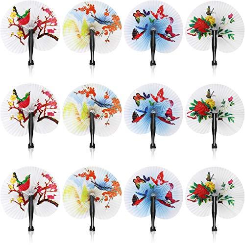 com-four® 12x Papierfächer mit unterschiedlichen Orientalischen Motiven, Asiatische Hand-Fächer, 25,5 x 23,5 cm