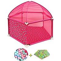 Parc- pour Bébé avec Balles, Barrière De Jeu pour Enfants avec Tente, Stylo De Jeu À 5 Panneaux pour Bébé (Couleur : Pink)