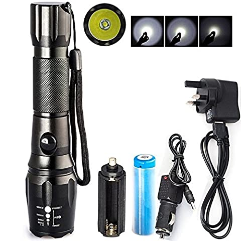 sacredfire 1800Lm CREE T6 5-Mode LED Lamp Light Rechargeable Zoomable Flashlight Torch Free 18650 Battery & USB Charger