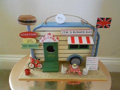 Wooden Novelty Burger Bar Garden Birdhouse, Rustic for sale  Delivered anywhere in UK