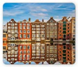 Wanderlust Mouse Pad, Traditional Dutch Buildings On Canal Amsterdam Heritage Reflection Scene, Standard Size Rectangle Non-Slip Rubber Mousepad, Blue Brown Orange