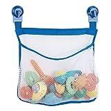 mDesign – Cesta de ducha para juguetes – Sin taladro – Neceser con ventosas para bañera - Organizador de baño colgante, ideal para esponjas, champú o como juguetero – Transparente