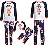 Weihnachten Familie Pyjamas Outfit Schlafanzug Nachtwäsche Damen Herren Baby Säugling Family Kleidung Zuhause Matching Set Xmas, Cartoon Schwein Brief Print Top + Hosen (Mom,Small)