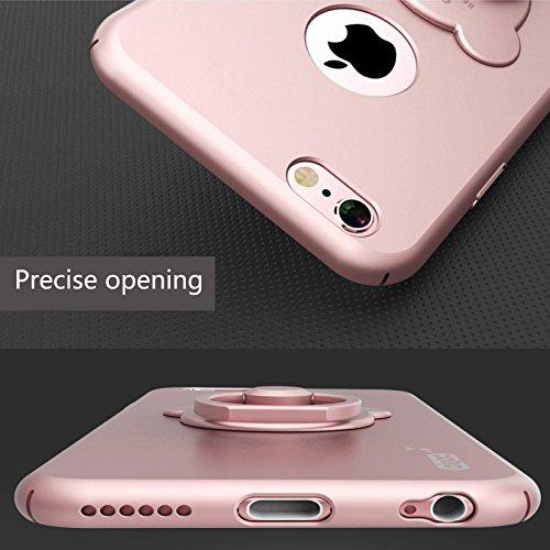 Coque pour Iphone 6/6s (4,7 pouces) , Koala Group® cas de téléphone Creative avec Winnie le support de la bague (iphone 6/6S, White) Rose gold
