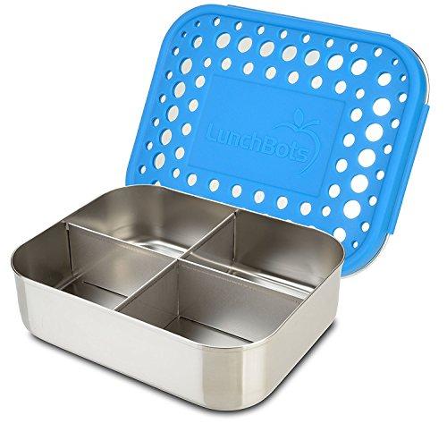 LunchBots Quad Récipient alimentaire en acier inox – Conception à 4 compartiments, idéale pour les snacks, les accompagnements et les en-cas à emporter – Écoresponsable, compatible lave-vaisselle et sans BPA – Tout acier - Bleu roi