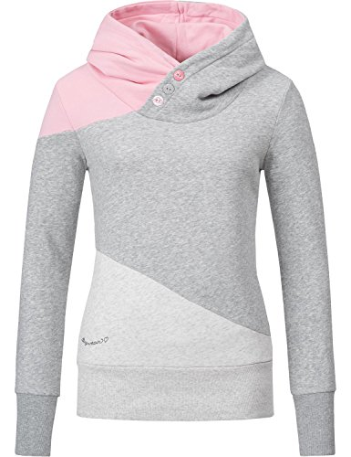 Ragwear Damen Sweatshirt Longsleeve Chelsea Block (Vegan Hergestellt) Rosa Gr. M (Pullover Chelsea)