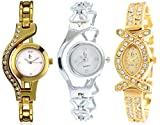 Freny Exim Silver & Golden Diamond Studded Analogue Multicolor Dial Women's & Girl's Combo of 3 Watch_Chain_Series_11