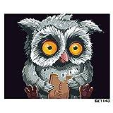 XIAOBAOZISZYH Eule Malen Sie Malerei Durch Digitale DIY Bildmalereifärbung In Der Segeltuchmalerei Mit Den Händen Hauptdekor.40 × 50 cm