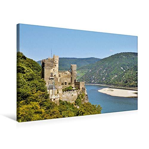 Premium Textil-Leinwand 75 cm x 50 cm quer Burg Rheinstein, Bingen -
