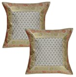 Lalhaveli Indian Silk Fabric Grey Color Cushion Covers Sofa Decorations 40 x 40