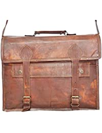 Pranjals House Genuine Leather 11*15 Inch Big Pocket Leather Laptop Satchel Messenger Bag