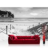 Vlies Fototapete 416x254cm PREMIUM PLUS Wand Foto Tapete Wand Bild Vliestapete - Strand Tapete Wasser Meer Weg schwarz weiß - no. 1850