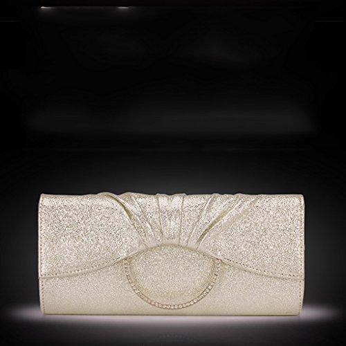 Frizione borsa da donna del pacchetto afflusso di donne del messaggero della borsa della borsa banchetto falso / finto / borsa da sera in pelle artificiale versione coreana ( Colore : Classic Black ) Gold And Silver