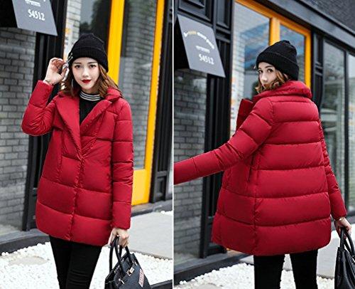 WanYang Donna Cappotto Di Cotone Nella Sezione Lunga Di Giacca In Cotone Spessa Giacca Invernale Con Cappuccio Sciolto In Inverno Rosso