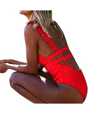 [Patrocinado]SHOBDW Traje de baño Mujeres de Moda Bikini Set Traje de baño Push-Up Acolchado Estampado de Flores Sujetador...