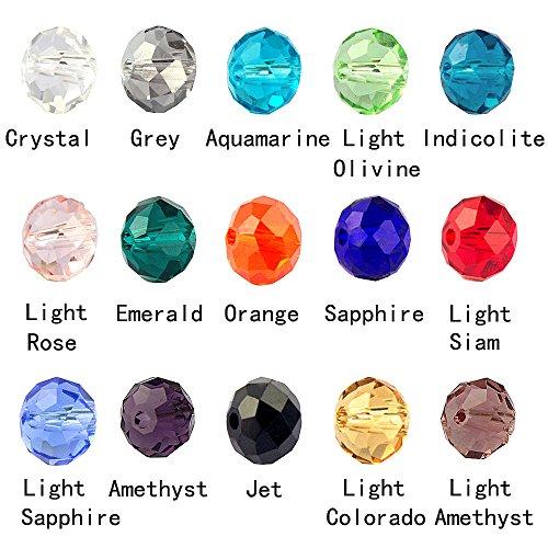 Lollibeads (tm) lotto di perline assortite per realizzare gioielli, in vetro cristallo, con scatola contenitore, vari colori, vetro, rondelle6mm, 6 mm