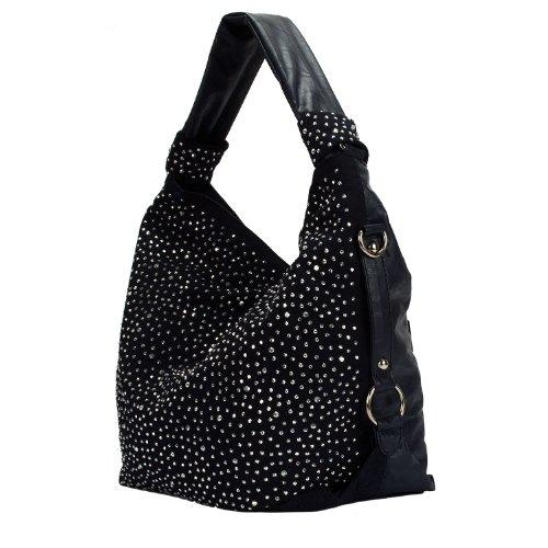 Blaue Nieten-handtasche (Trendy Tasche Handtasche Shopper XL mit Strass aktuelle Kollektion (Nachtblau))