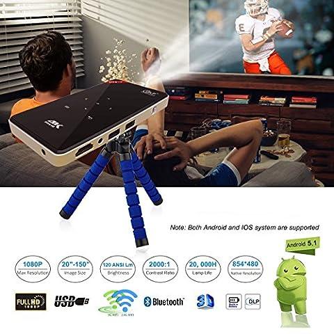 AAAHOMEEU Android Smart Mini Wireless Projektor Mobile DLP Heimkino Projektor HDMI Eingebauter Player für Laptop Heimkino 100LM LED Lampe mit Dualband wifi 2.4GHz 5.8GHz H96-P DLP Projektor