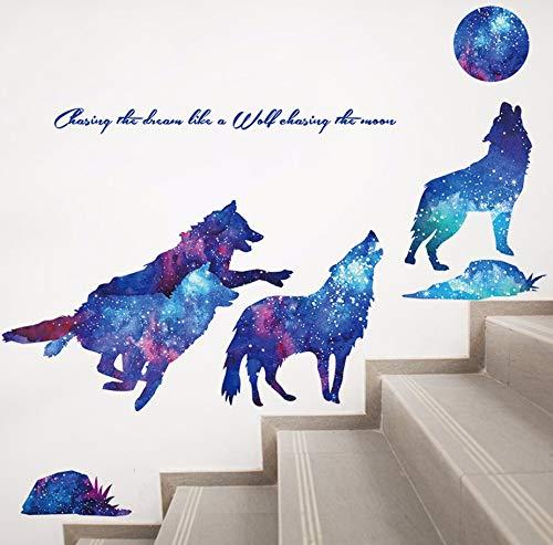 Xzfddn Wolf Tiere Wandaufkleber Pvc Diy Weltraum Wandkunst Für Kinderzimmer Kindergarten Baby Schlafzimmer Dekoration