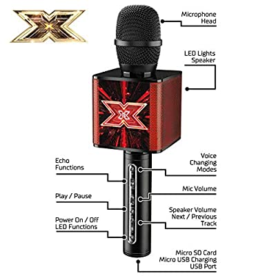 The X Factor TY6013 Karaoke Microphone Speaker with Bluetooth, LED Lights, Echo and Voice Changer, XF2, Black