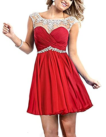 Babyonline Red Short Prom Dress Cap Sleeve Chiffon Party Dresses For Women