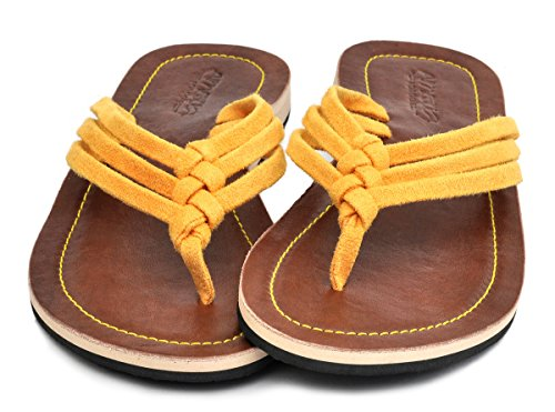 Amboss Damen Sandale mit Echt Leder Gr.36-43 Farbe: gelb, orange, pink, schwarz Gelb