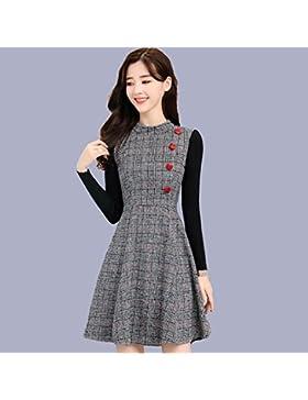 GAOLIM Vestimenta De Invierno Mujer De Invierno Mujer Falda Falda Engrosada Que Qiu Dong, M, Cuadrícula Blanca