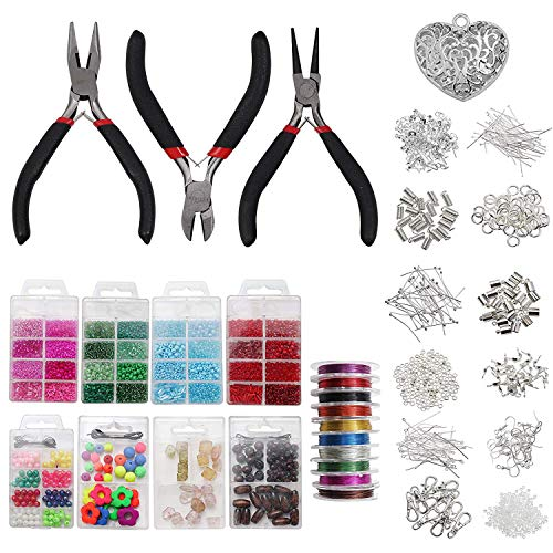 Combination Suit Jump Ring Lobster Clasp Tail Chain Pliers Tweezers Diy Jewelry Findings Making Box With Jewelry Tool Beads Kit Clear And Distinctive Beads & Jewelry Making Jewelry & Accessories