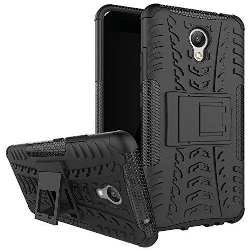 Meizu M5 note Hülle, SMTR 2in1 Ultra Slim Silikon Rückseite Schutzhülle, mit Standfunktion und Advanced Shock Absorption Technology hülle für Meizu M5 note , Schwarz