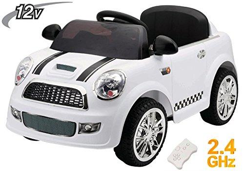 Mondial Toys Auto ELETTRICA Mini Car Giocattolo per Bambini 12V con Telecomando 2.4G Soft Start Bianco