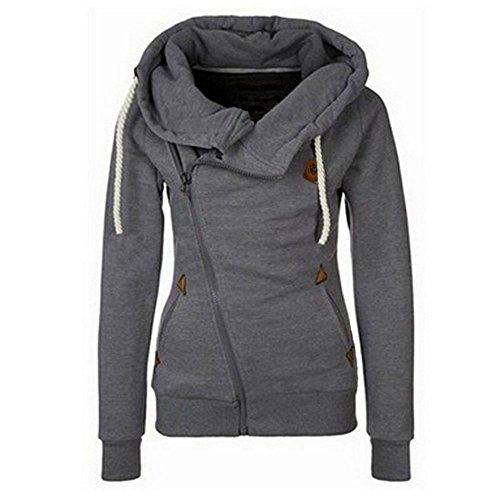 Beiläufiges Entwurfs-Frauen-Kapuzenpullis Reißverschluss-mit Kapuze Sweatshirt-Kapuzenmantel-Oberseiten (Pullover Klobige Gerippte)