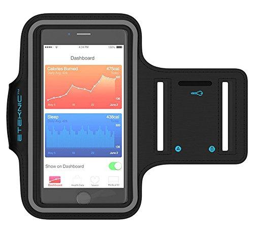 eTEKNIC Brazalete Deportivo Para iPhone SE, 5s, 5, 5c Soporte Ajustable Para Deporte Correr Entrenar Caminar Ejercicio Fitness Funda Protectora Gym [Correa Extensora]