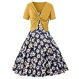 AIni Kleid Damen Beiläufiges Summer Fresh Drucken Kleid Schlinge Pullover Zweiteiliges Set Strandkleider Abendkleider Festlich Hochzeit Partykleid(S,Gelb)