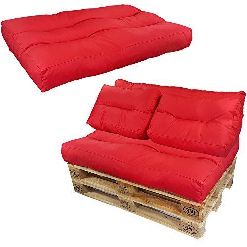 proheim Palettenkissen Lounge 3er Set - 1 Sitzpolster + 2 Rückenkissen in Rot Sitzkissen für Europaletten Paletten-Sofa - 2