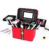 LITAO Bolsa de Almacenamiento de Maquillaje Estuche de cosméticos portátil Bolsa de Almacenamiento de Escritorio de Maquillaje al por Mayor Doble Cuatro Gran Capacidad Abierta, Rojo