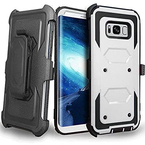 CellularOutfitter Samsung Galaxy S8 Plus Triple Protection Rugged and Holster Shell Combo Phone Case - Heavy Duty, Shock-Resistant - White/Black