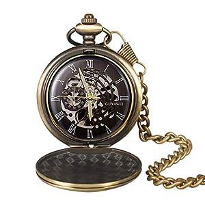 Taschenuhr Retro Smooth Mechanical Skelett Römische Ziffern Antik Taschenuhr für Herren mit Kette Silber