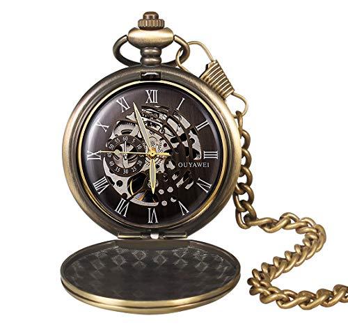 Mechanische Taschenuhr für Herren Klassische Vintage Glatt und Kette römische Ziffern antikes Bronze Taschenuhr mit schwarzem Zifferblatt