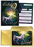 12 Einladungskarten incl. 12 Umschläge zum 9. Kindergeburtstag Mädchen Einhorn / Einladung Geburtstag / Unicorn / Prinzessinparty / schöne und bunte Karten (12 Karten + 12 Umschläge)