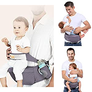 Viedouce Hip Seat Baby Carrier with Safety Belt Protection, Pure Cotton, Lightweight Ergonomic Waist Stool,Multi Positions Baby Front Carrier for 3-48 Month (Dark Grey)   10