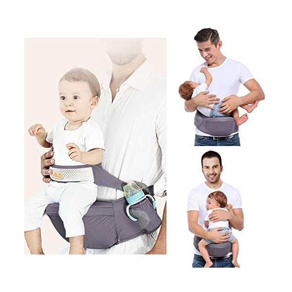 Viedouce Hip Seat Baby Carrier with Safety Belt Protection, Pure Cotton, Lightweight Ergonomic Waist Stool,Multi Positions Baby Front Carrier for 3-48 Month (Dark Grey) Viedouce 【ERGONOMIC DESIGN】 - Hip seat baby carrier perfectly adapts to your growing baby, allows baby to be in a natural sitting position and ride facing in or out. Effectively reduces the stress on your back whenever you carry baby at home, at work or while you travel.(Recommended by the International Hip Dysplasia Institute (IHDI) and pediatricians to prevent O-legs and poor blood circulation). 【Multiple Safe Guaranteed】- Come with the professional climbing double socket buckle design, which has strong bearing capacity, plus the baby safey belt provide extra support and security to prevents from falling off and safely hold the baby. 【Made for comfort】- The Baby Carrier Stool surface is filled with skin-friendly natural cotton fabric,lined with a 15mm memory foam pad around the abdomen for you. The inner cushion (detachable hip seat) is made of EPP foam, safe and to deform, which means great comfortable for you and baby. 1