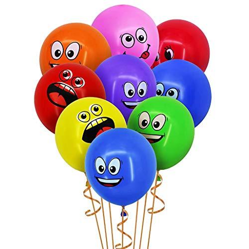Crazy-M 50 Stücke Smiley Latex Luftballons Smile Face Ballon Expression Smiley Party Luftballons Verschiedene Lustige Kinder Latex Luftballons Neuheit Hochzeit (Roter Ballon Emoji)