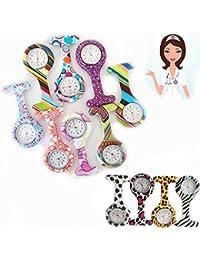 Reloj Nuevo reloj de bolsillo del patrón de impresión de silicona enfermera FOB Broche Túnica