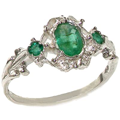Solid 9ct White Gold Natural Emerald Vintage Style Ladies Ring - Finger Sizes J to Z Available