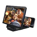 Happy Event Neueste Handy-Bildschirm Lupe Augenschutz Display 3D Video Bildschirmverstärker Falten Vergrößerte Expander Stand (Schwarz)