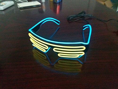 arty Brille 2 Bicolor Drahtbrille Spass Partybrillen Bunt Gitterbrille Leuchtstab Brillen mit Batterie Box für Karneval Rave, Nachtclubs Fest, Geschenk (Gelb + Hellblau) (Halloween-spiele 4. Klasse-party)