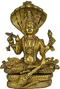 Exotic India Lord Vishnu Seated on Sheshnag - Brass Sculpture