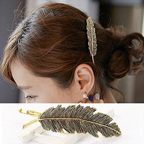CINEEN 3 Farben Metall Feder Blatt Haarklammern Vintage Blatt förmigen Haarspangen Haarschmuck Kopfschmuck Haar Zubehör - 3